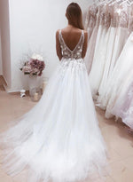 White v neck tulle lace long prom dress evening dress