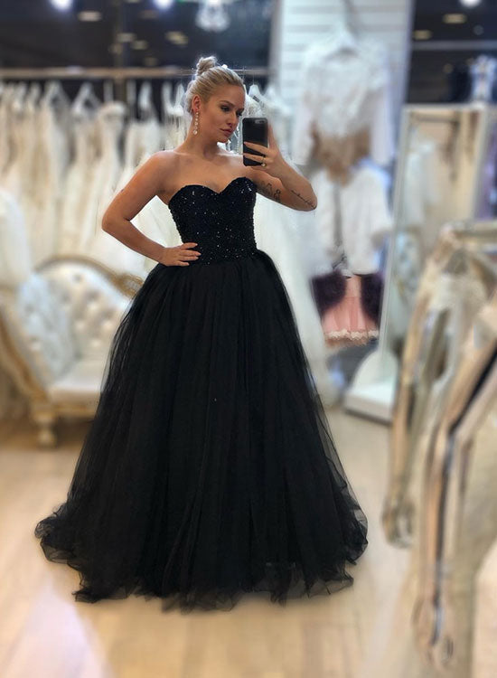 Black sweetheart neck tulle long prom dress, evening dress