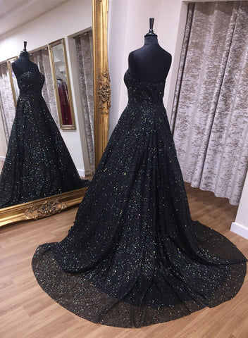 Black sequins long prom dress, black evening dress