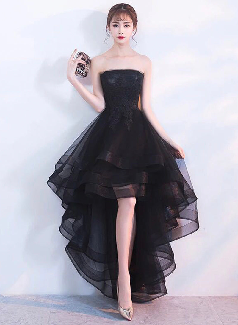 Black tulle lace high low prom dress party dress