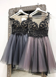 Black lace tulle short prom dress hoco dress