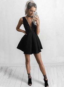 Cute black v neck short prom dress, black homecoming dress