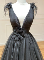 Black v neck tulle long prom dress evening dress