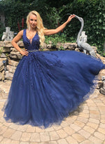 Blue v neck lace prom dress blue evening dress