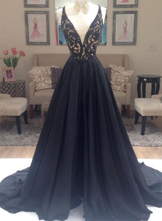 Black A line v neck lace long prom Dress, black evening dress