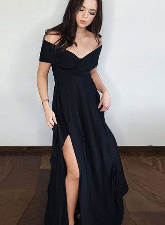 Black A line off shoulder long prom dress, black evening dresses