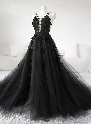 Black tulle appliqué long prom dress, black evening  dress