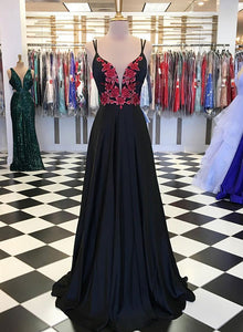 Black lace chiffon long prom dress, black evening dress