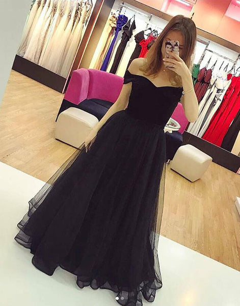 Black v neck tulle long prom dress, formal dress