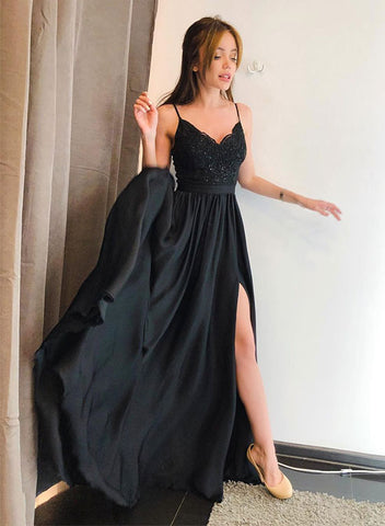 Black v neck lace long prom dress, black evening dress