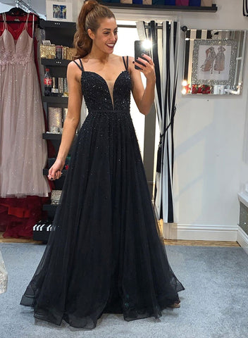 Black tulle beads long prom dress black evening dress