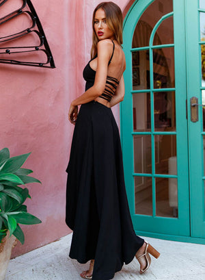 Simple black high low prom dress, black evening dress