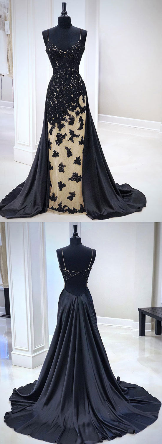 Unique black lace long prom dress, black evening dress