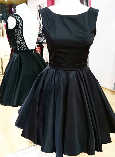 Cute black short prom dress, black evening dress