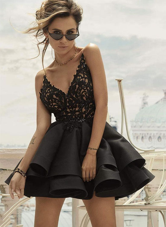 Cute black v neck lace short prom dress, black homecoming dress