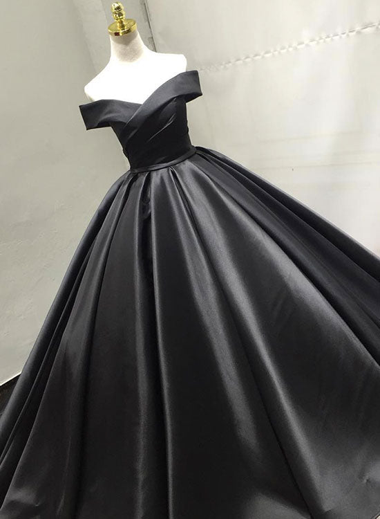 Black v neck satin long prom dress, black evening dress