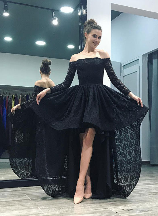 Black lace high low long sleeve prom dress, black evening dress ...