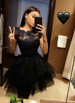 Cute A line black tulle lace short prom dress, black homecoming dresses