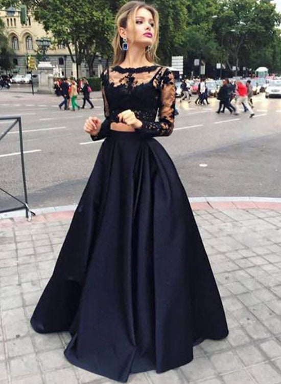 Elegant black lace long sleeve prom dress, evening dress