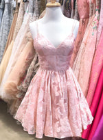 Cute pink v neck short prom dress homecoming dress