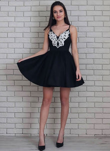 Cute v neck lace short prom dress, homecoming dress