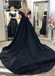 Black v neck satin long prom dress, evening dress