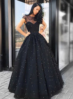 Black tulle pearls long prom dress, black evening dress