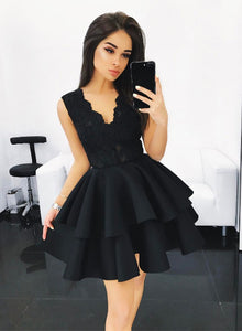 Cute black lace A line short prom dress, black homecoming dress