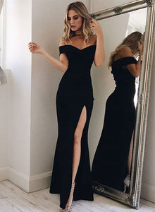Mermaid black off shoulder long prom dress, black evening dress