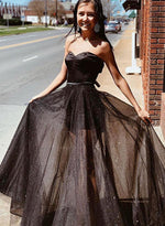 Black sweetheart neck sequins long prom dress, evening dress
