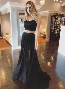 Black two pieces long prom dress, black tulle evening dress