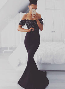Black mermaid lace long prom dress, black evening dress