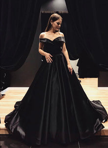 Black v neck satin long prom dress, off shoulder evening dress