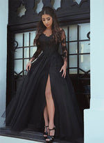 Black lace long sleeve prom dress, lace long evening dress