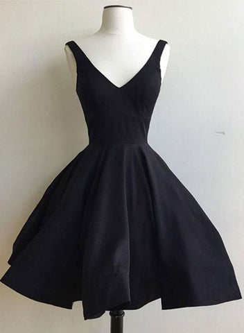 Simple black v neck short homecoming dress, cheap prom dress