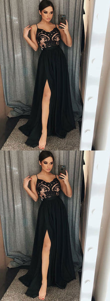 Black v neck lace long prom dress, evening dress