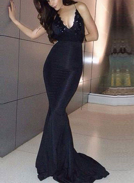 Sexy black lace v neck long prom dress, mermaid evening dress