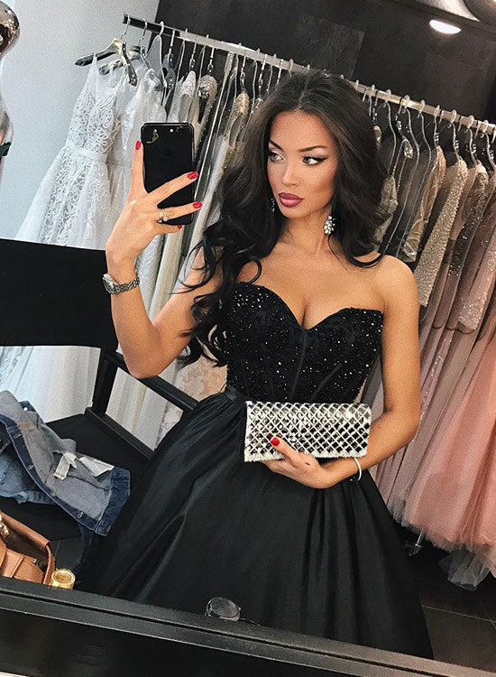 Black sweetheart neck A line long prom dress, black evening dress