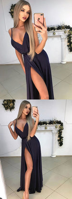 Simple black v neck chiffon long prom dress, black evening dress