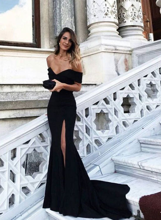 Black mermaid off shoulder long prom dress, black evening dress