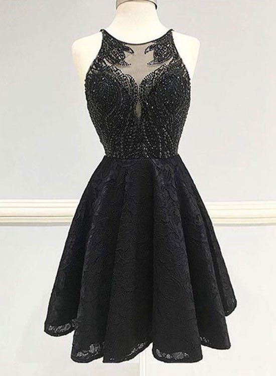 Black A line lace short prom dress, black homecoming dress