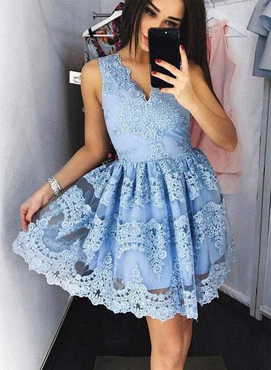 Stylish tulle lace A lin short prom dress, lace homecoming dresses