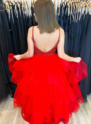 Red v neck tulle short prom dress party dress