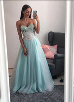 Blue sweetheart neck tulle long prom dress, blue evening dress