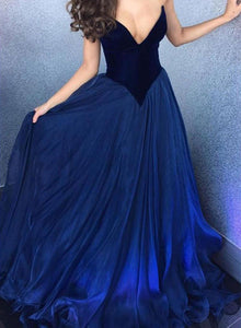 Blue A line sweetheart neck long prom dress, blue evening dress