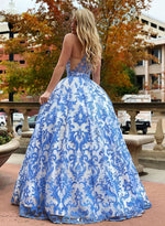 Blue tulle lace long prom dress blue evening dress