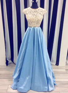 Blue A line lace long prom dress, formal dress