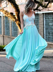Blue A line chiffon lace long prom dress, lace evening dress