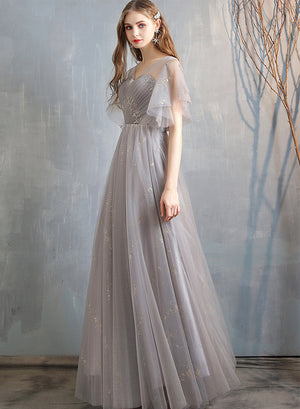 Stylish A line tulle long prom dress evening dress