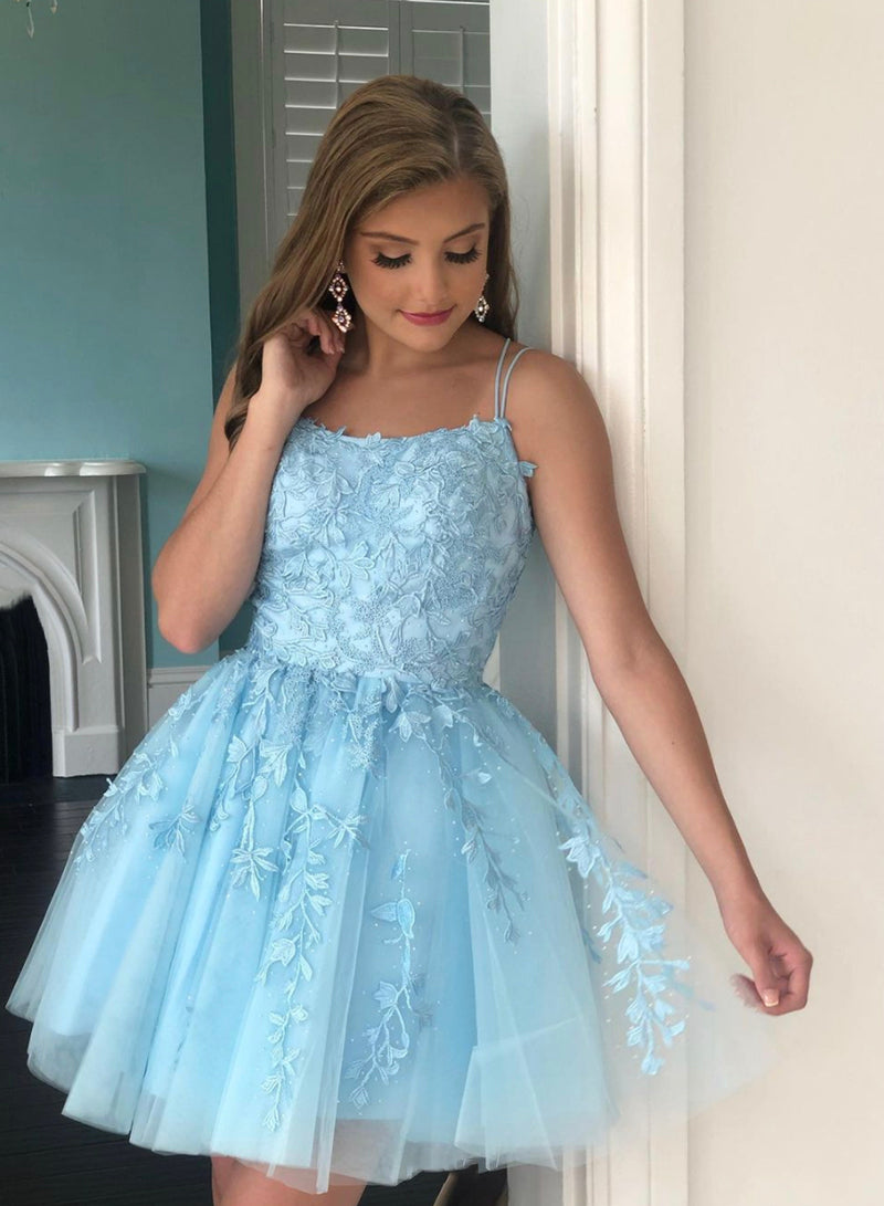 Blue tulle lace short prom dress homecoming dress